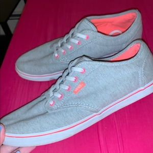 Coral and grey Vans